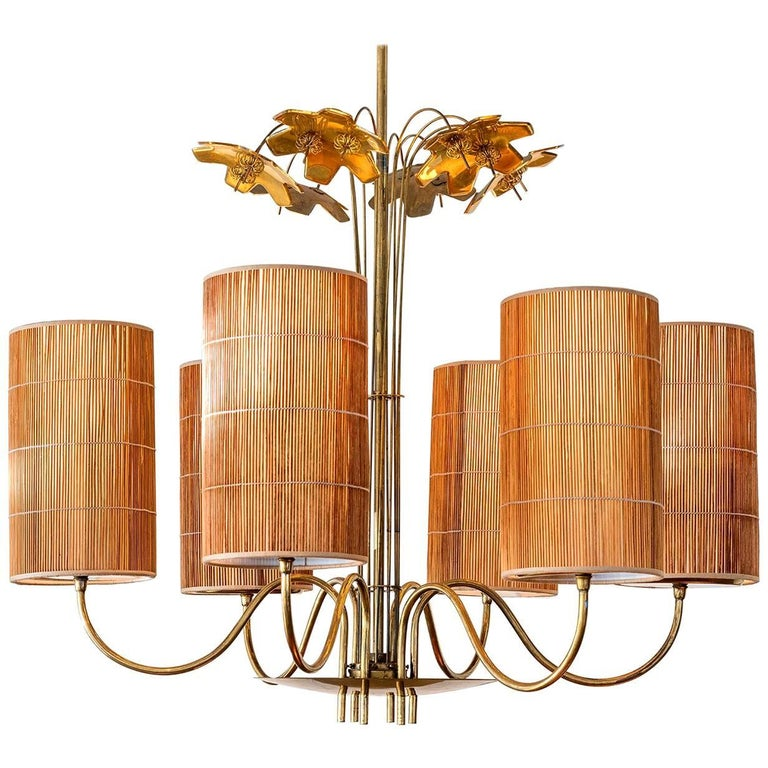 Paavo Tynell, Large Chandelier with Six Snowflakes, Brass, Reed, Taito OY, 1940s For Sale