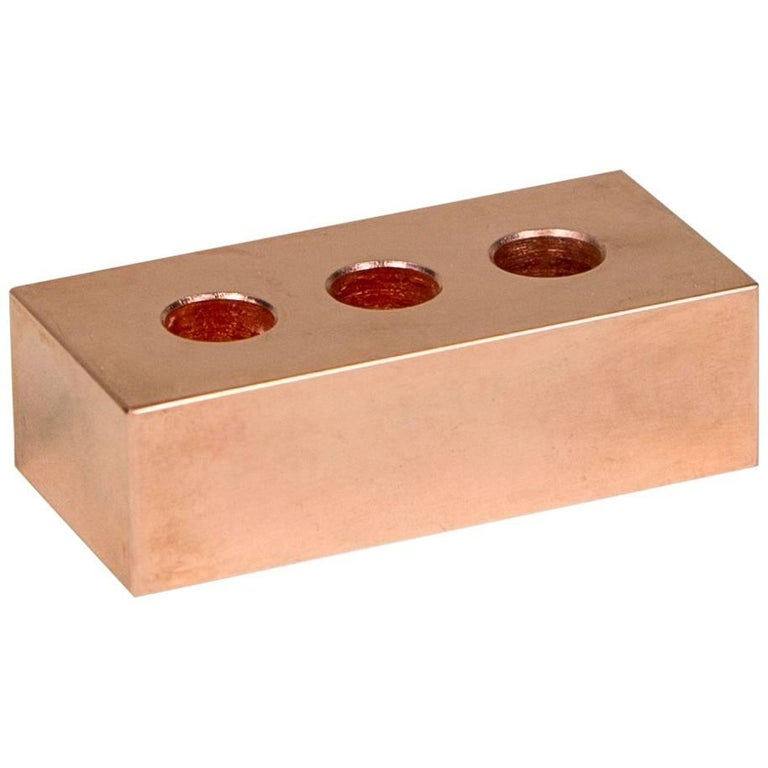 Pen Brick from Souda, Copper, in Stock, Paperweight and Pen Holder For Sale