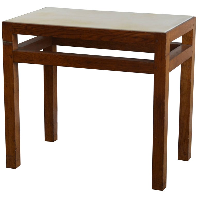 Chic French Art Deco Oak and Parchment Side Table or Nightstand