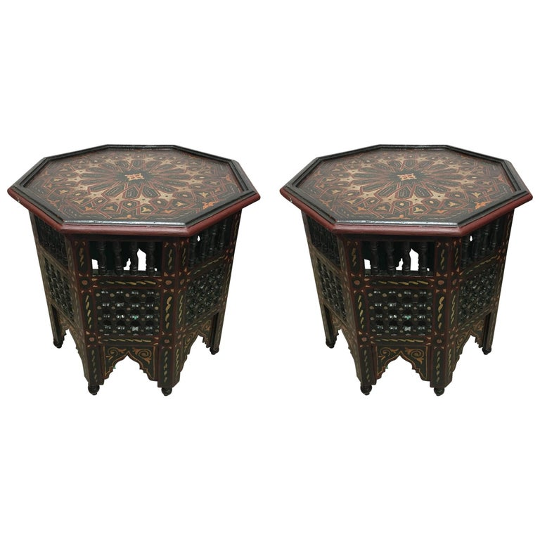 Pair of Moroccan Hand-Painted Dark Green Octagonal Side Tables