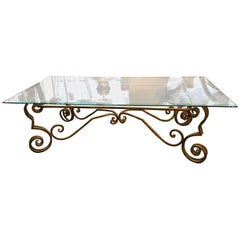 Vintage French Wrought Iron Coffee Table