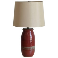 Chic Oxblood Lamp with Custom Cream Silk Shade