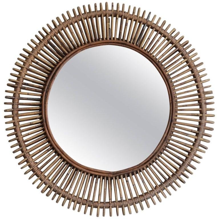 'Oculus' Round Rattan Mirror by Design Frères
