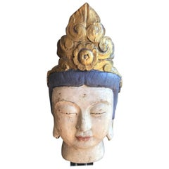 Large, Carved Polychrome Buddha Head/ Bust on Stand