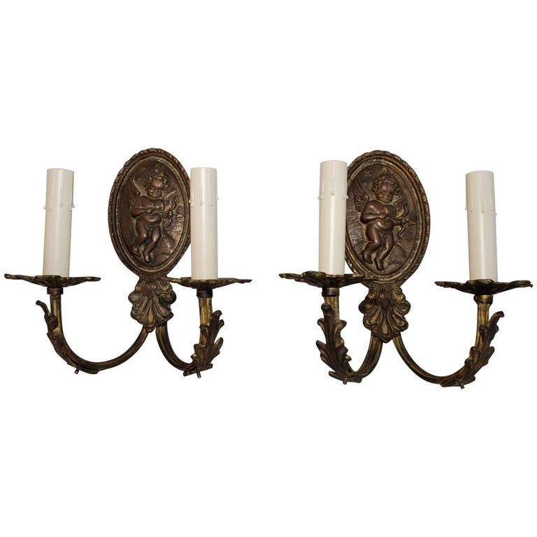 Very Rare Set of 16 French 1940s Bronze Sconces