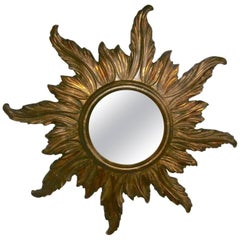 French Gilded Wood Sunburst Mirror