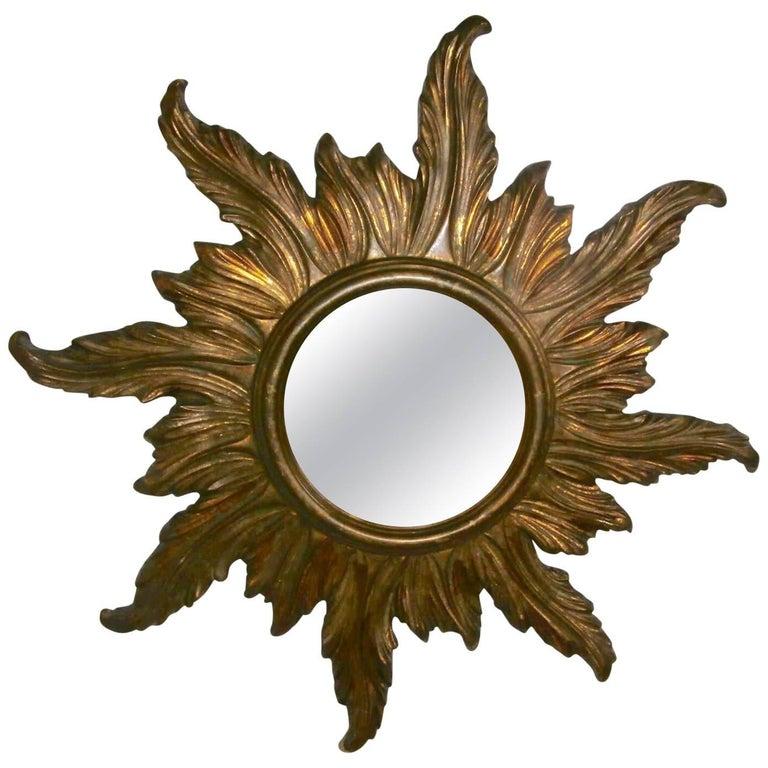 French Gilded Wood Sunburst Mirror