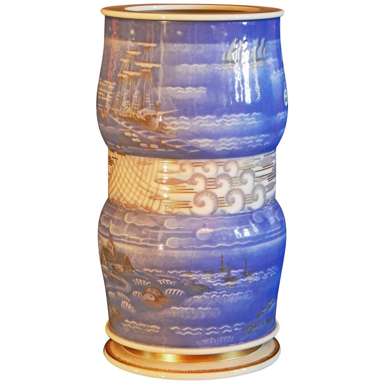 """Breton Fishing Village,"" Masterpiece Art Deco Vase by Leduc for Sevres, 1934 For Sale"