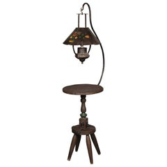 Monterey Floor Lamp with Iron Floral Shade, circa 1930s