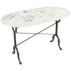 Mid-20th Century French Cast Iron Bistro Table with Bevelled Oval Marble Top