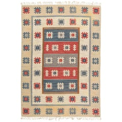 Anna-Greta Sjöqvist, Signed Flat-Weave Carpet / Rug Red, Blue, White, Beige