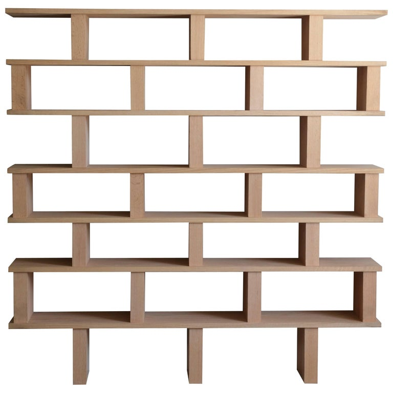 'Verticale' Polished Oak Shelving Unit by Design Frères