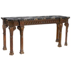 George III Style Carved Mahogany Long Console, 19th Century