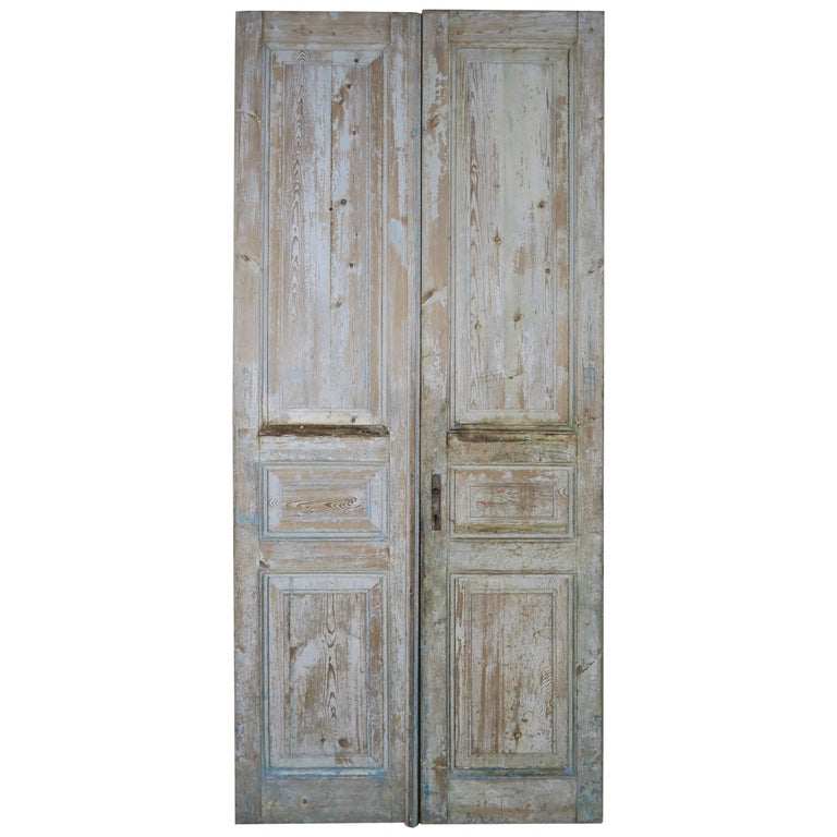 Pair of 19th Century Painted Pine Doors