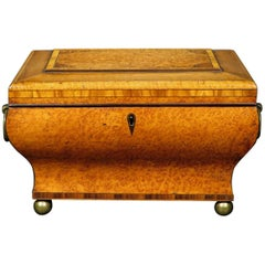 Very Fine Biedermeier Tea Caddy in Exotic Woods and of Bombe Form, Circa 1830