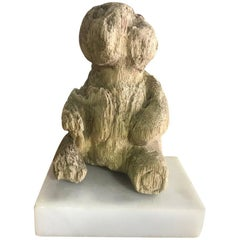Hand-Carved Wood Bear on Marble Stand
