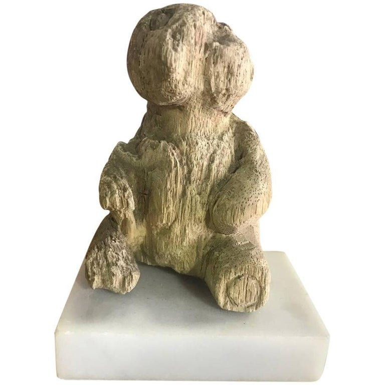 Hand-Carved Wood Bear on Marble Stand For Sale