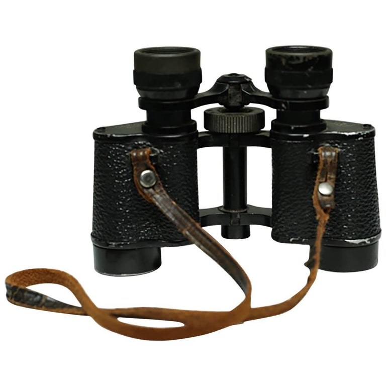 Midcentury Leather Wrapped Binoculars, circa 1950s For Sale