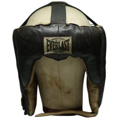 Early 20th Century Leather Boxing Sparring Mask and Fabric Headform, circa 1940s
