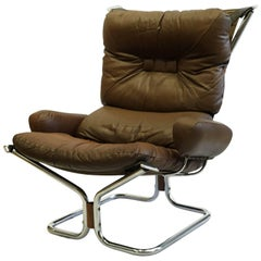 Mid-Century Modern Leather and Chrome Chair by Ingmar Relling, circa 1970s