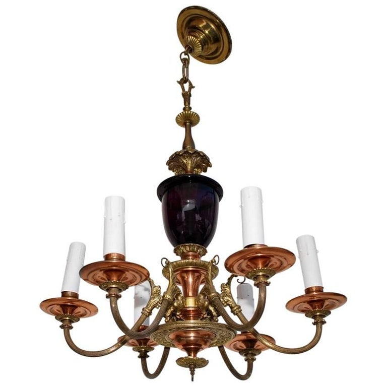 Beautiful 1930s Brass and Copper Chandelier with Purple Glass