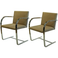 Vintage Mies van der Rohe for Knoll Suede Flatbar Brno Chairs, circa 1970-1980