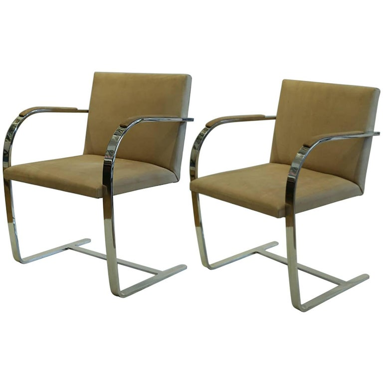 Vintage Mies van der Rohe for Knoll Suede Flatbar Brno Chairs, circa 1970-1980