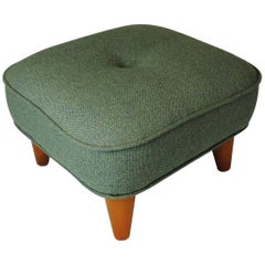 Unique Style Vintage Danish Wool Green Fabric Footstool