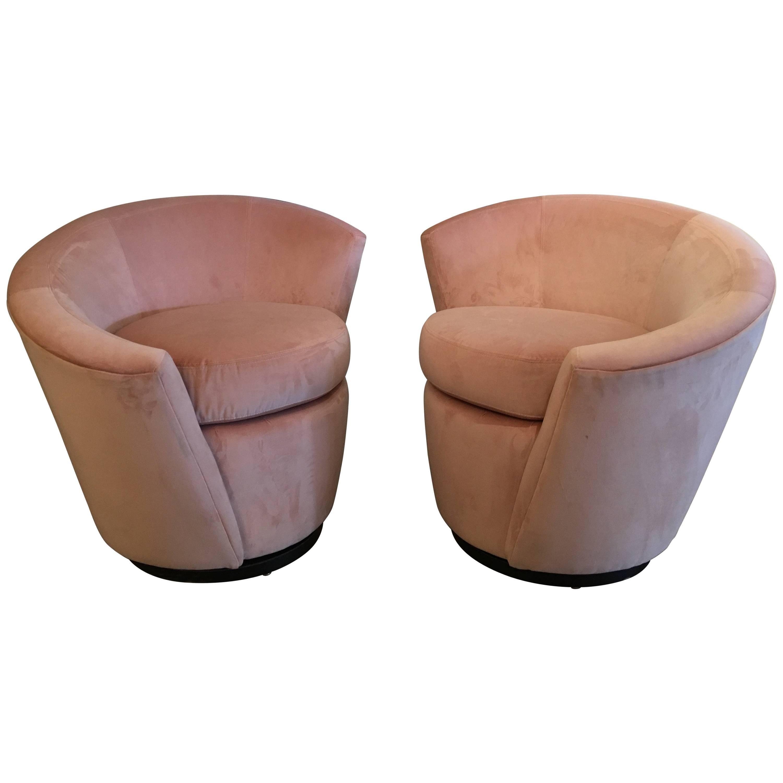 Pink Velvet Vladimir Kagan Swivel Chairs