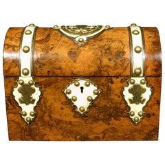 Burl Walnut and Brass Bound Document Box / Jewellery Casket, England, Circa 1860