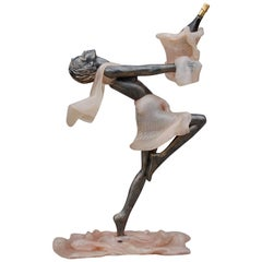 Floor Statue of Leaping Female with Ice Bucket by Pintus, Late 20th Century