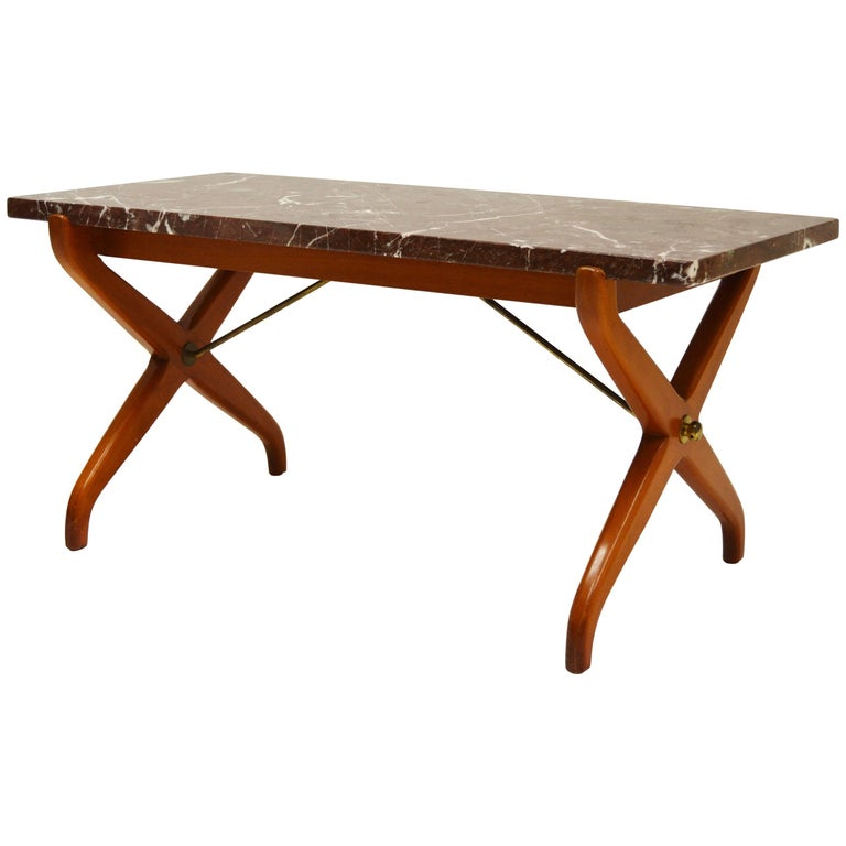 David Rosen NK Marble and Mahogany X-Legged Coffee Table