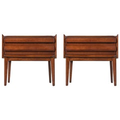 Pair of Restored Mid-Century Modern Lane First Edition Walnut Nightstands