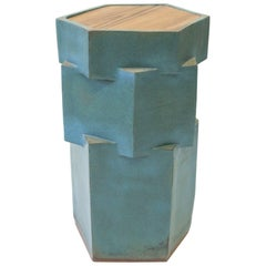 Contemporary Ceramic Teal Hexagon Side Table with Inset Teak