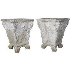 Pair of Belgium Cement Planters with Grapes, 1920s