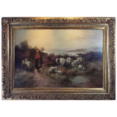 19th Century Barbizon Painting Oil on Canvas Carved and Gilded Splendor Frame