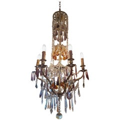 French Chandelier Made of Brass and Decorated with Colored Crystals