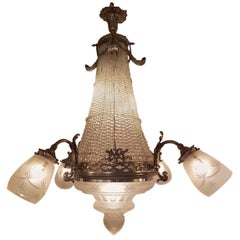 Antique French Empire Style Crystal sac de pearl Chandelier