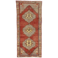 Vintage Turkish Oushak Runner with French Provincial Style, Wide Hallway Runner