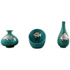 "Wilhelm Kåge for Gustavsberg ""Argenta"", Three Small Vases Decorated with Fish"