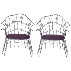 Serge Dubreuil Style Pair of Armchairs, Iron, circa 1970, France
