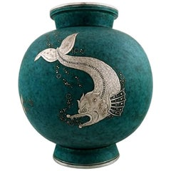 Wilhelm Kåge, Gustavsberg, Argenta Art Deco Large Spherical Ceramic Vase