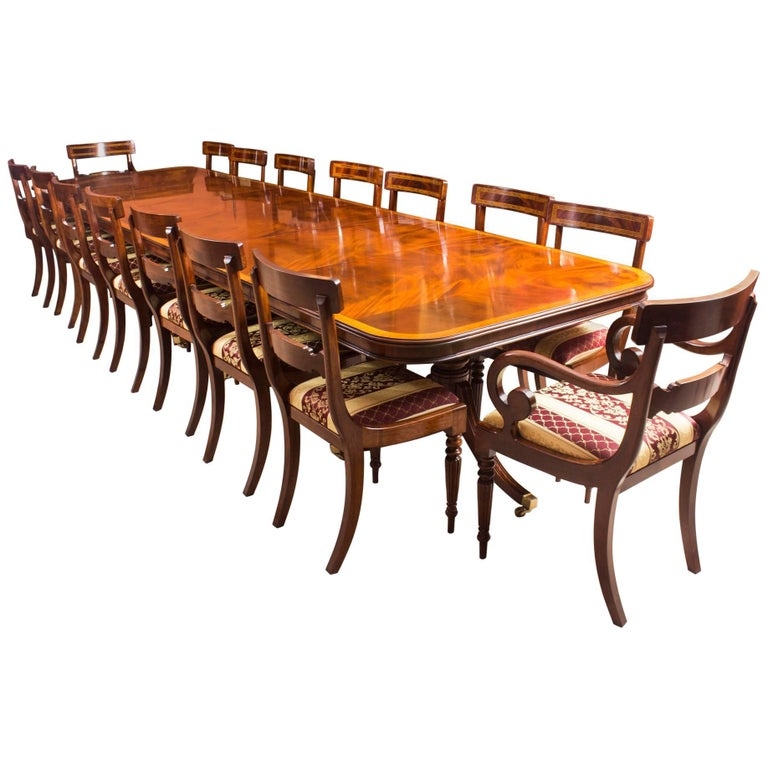 Dinette Chairs For Sale: Bespoke Three Pillar Mahogany Dining Table And 16 Chairs