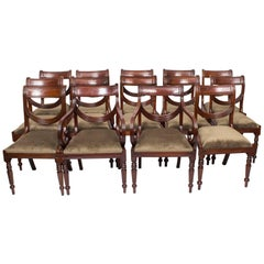 Set of 12 English Regency Dining Chairs Swag Back