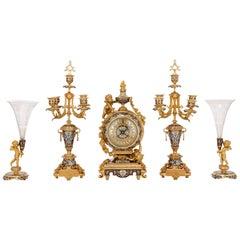 Rococo Style Gilt Bronze and Cloisonné Enamel Clock Set