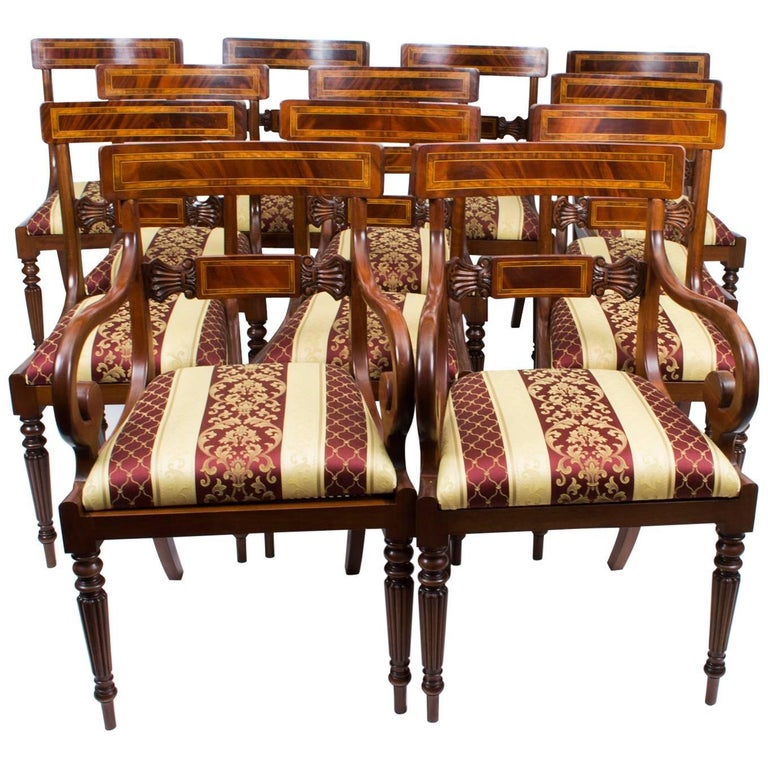 Splendid Set of 12 Regency Style Dining Chairs Armchairs