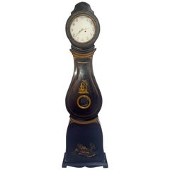 Antique Swedish Mora Clock Black Gold Early 1800s Hand-Painted