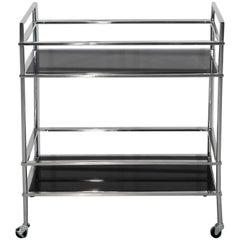 Bauhaus Bar Cart with Lacobel Glass