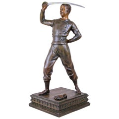 "Art Nouveau Sculpture ""Swordsman"", Signed, circa 1900"