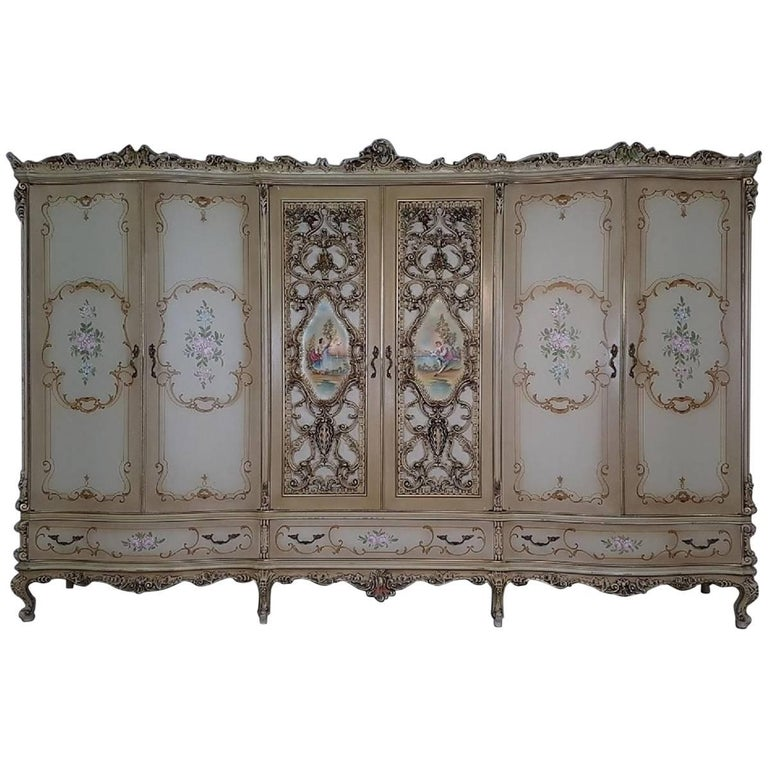 20th Century Italian Venetian Baroque Style And Painted Bedroom Set For